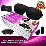 #1 EnClare Premium 4-in-1 Sleep Paradise Eye Mask Set, Luxurious 100% Silk Sleep Mask, 3D Sleeping Mask, Earplugs, Pouch