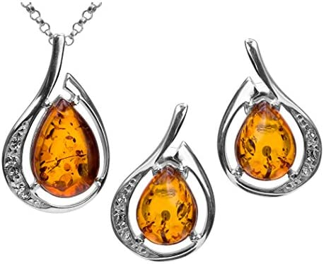 Amber Sterling Silver Drop Pendant Earrings Set Chain 18 Inches