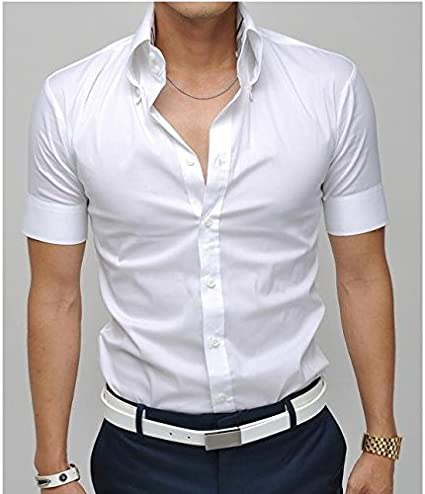 Camiseta de manga corta para hombre vestido camisas Slim Fit ...