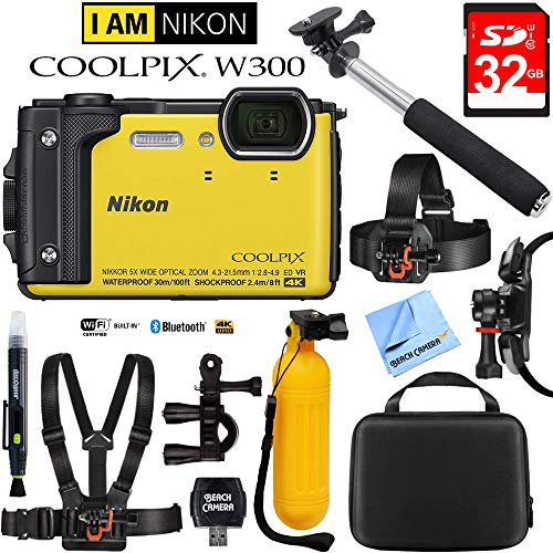 Nikon COOLPIX W300 16MP 4k Ultra HD Waterproof Digital Camera Yellow (26525) with 32GB Memory Card, Cleaning Kit, BLTCHM1 Clip Head Mount Kit, Yellow Floating Bobber Handle & More