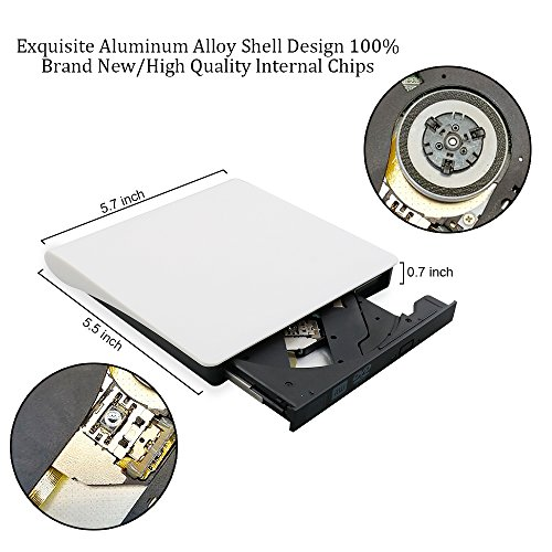 External DVD Drive USB 3.0 Transmission Slim Portable External DVD CD +/-RW Writer/Burner/Rewriter ROM Drive Perfect for Mac OS/Win7/Win8/Win10/Vista PC Desktop Laptop (White) by Electype (Image #2)