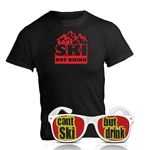 Après Ski Party Set can´t ski but drink Fun Shirt und Sonnenbrille Nerd weiß Après Ski Party Zubehör Ischgl Sölden St. Anton Après Ski Party Accessoires T-Shirt mit Spruch Brille (X-Large)