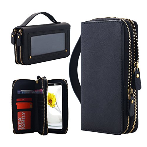 Galaxy S8 Wallet Case, LONTECT Multi-function Purse Detachable Back Cover Dual Zipper Pouch Cash Storage Card Holder Case with Cosmetic Mirror Hand Strap for Samsung Galaxy S8 - Black