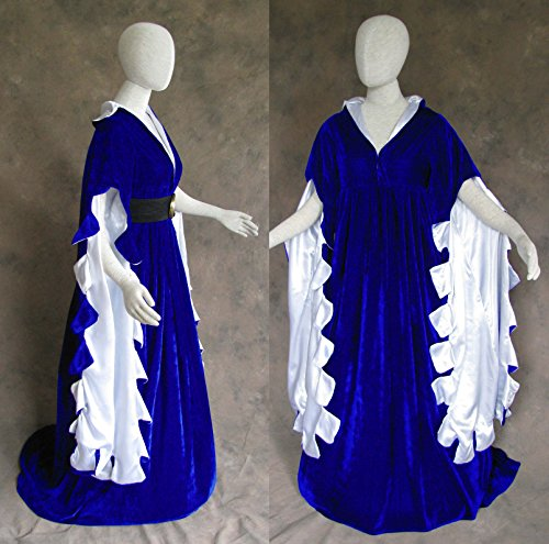 Satin Design Scalloped (Scalloped Renaissance Medieval Dress SCA Ren Faire Game of Thrones LOTR (Medium, Blue))