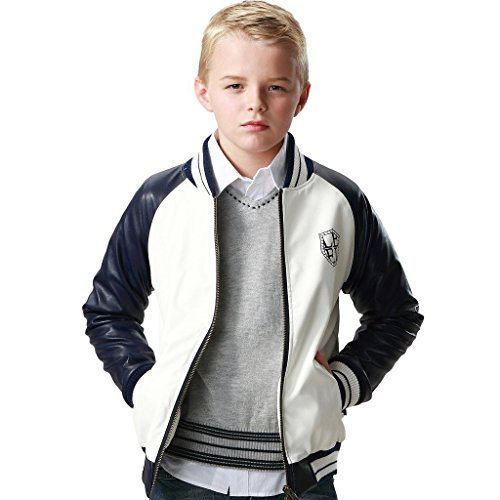 (Leo&Lily Big Boys' Faux Suede Lining Jackets Blazers Outwear Coats (12) White)