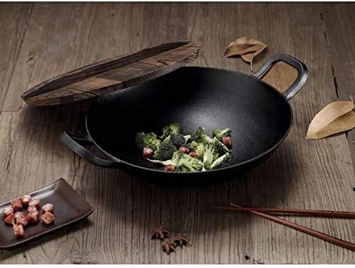 Wok Binaural De 36cm Un Pot En Fonte De Style Chinois Wok Avec Cuisinière à Induction à Gaz Universel Avec Couvercle En Bois