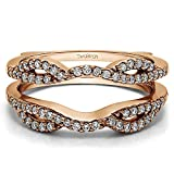 TwoBirch Rose Gold Plated Sterling Silver Infinity Criss Cross Designed Ring Guard Enhancer with Cubic Zirconia (0.32 ct. tw.)