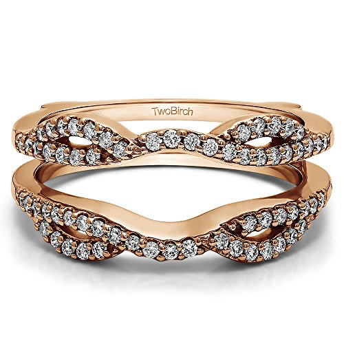 TwoBirch Rose Gold Plated Sterling Silver Infinity Criss Cross Designed Ring Guard Enhancer with Cubic Zirconia (0.32 ct. tw.) by TwoBirch