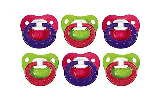 NUK Juicy Orthodontic Latex Pacifier, Size 3, 6 Pack - Red/Green