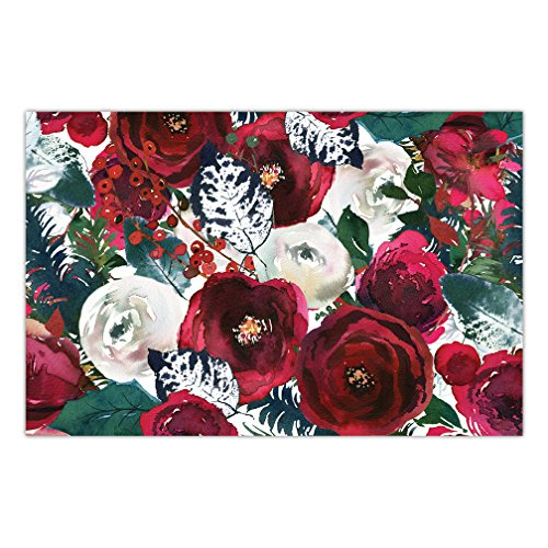 "Red Christmas Paper Placemats 25 Pack Elegant Floral Tableware Seasonal Celebration Office Parties Brunch Luncheon Buffet Dinner Banquet Disposable Easy Cleanup 17"" x 11"" Place Mats DB Party Studio"