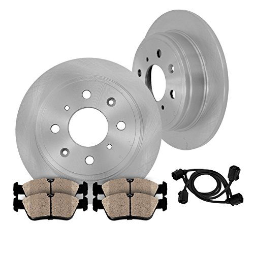 [ E30 ] REAR 258 mm Premium OE 4 Lug [2] Brake Disc Rotors + [4] Ceramic Brake Pads + Sensors (E30 Discs Brake)