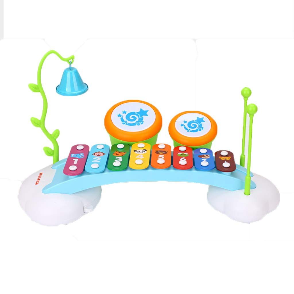 LIPENG-TOY Children's Music Piano Puzzle Hand Drums Xylophone Baby Infant Music Musical Toys 1-2-3 Years Old (Color : Blue)