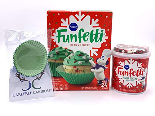 Pillsbury Funfetti Christmas Holiday Cupcake Mix Bundle (3 items) - Funfetti Yellow Cake Mix, Funfetti Red Vanilla Frosting with Snowflake Shaped Sprinkles & 25 Carefree Caribou Paper Cupcake Liners (Christmas Snow Cake For Icing)