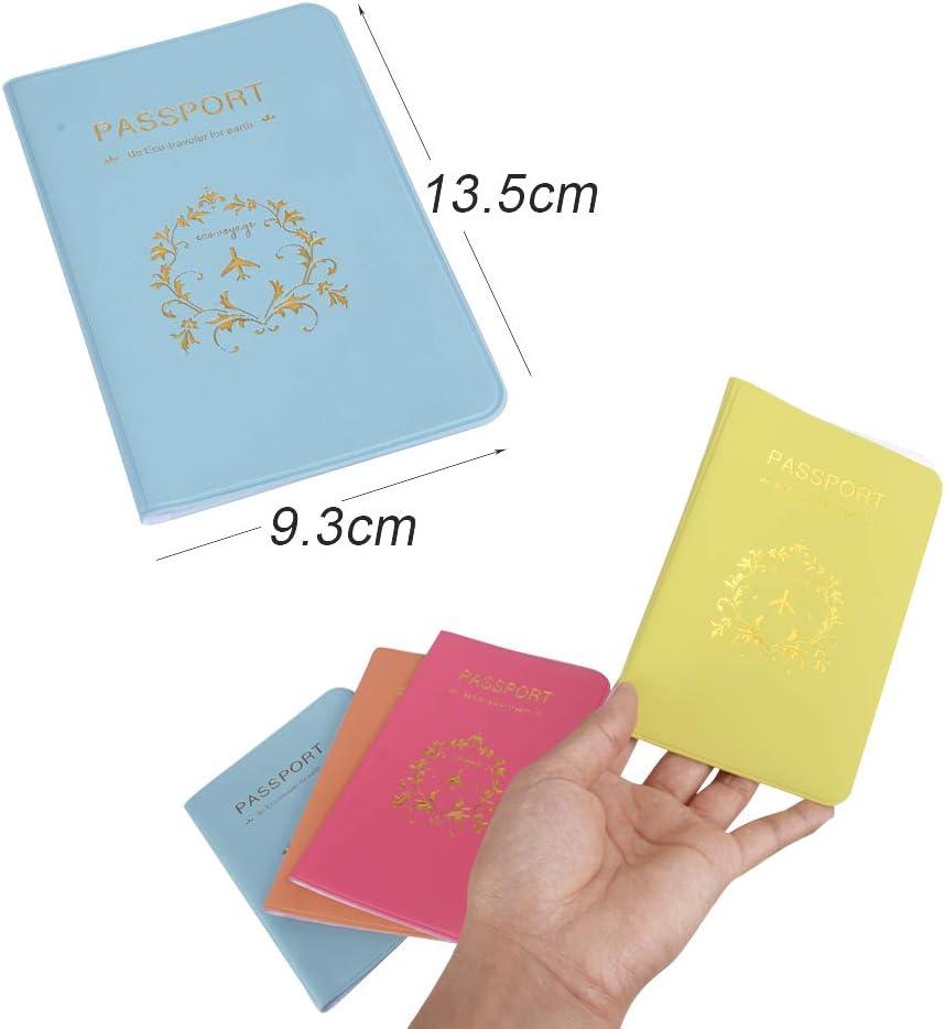 4pcs Prot/ège-Passeport Porte Organisateur de Cartes Housse Etui Protection Passeport Holder en Motif Vigne De Fleur Pochette Accessoires de Voyage 4 pcs Multicolore
