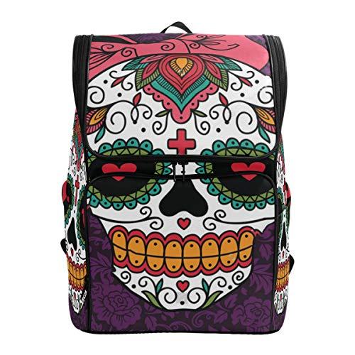 SLHFPX Laptop Backpack Sugar Skull Girl Purple Floral School Backpack for Men Big Picnic Back ()
