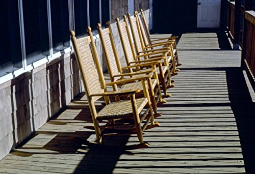 Roadside America Photo Collection | 1985 Rocking Chairs on Porch of Sanderling Inn, Duck, North Carolina | Photographer: John Margolies | Historic Photographic Print 36in x 24in
