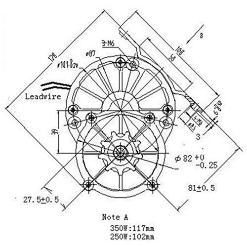 REES52 MY1016Z2 250w 24v Gear Brush Motor Electric Tricycle DC Gear Brushed Motor Electric Bicycle Motor
