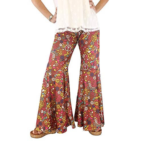 Groovy 60's Hippie Bell Bottom Flared Costume Pants for Women Flower Power Peace Sign (Large/Plus 14-18) -