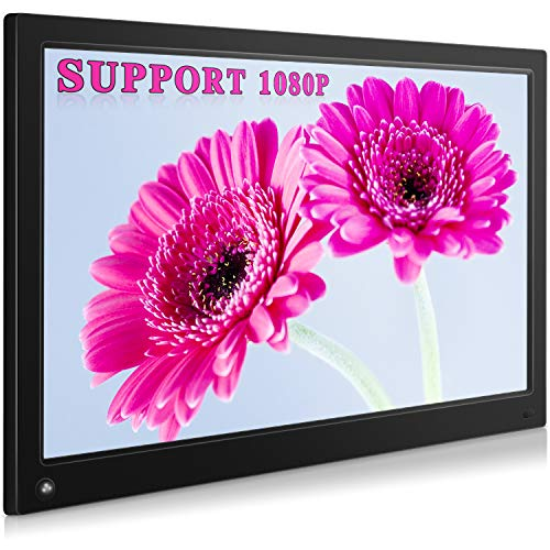 MRQ 15.6 Inch Digital Photo Frame Display Photos with Background Music 1080P Video USB SD Solt Supported, 1920x1080 HD Digital Picture Frame with Auto-Rotate, Motion Sensor Function, Remote Control