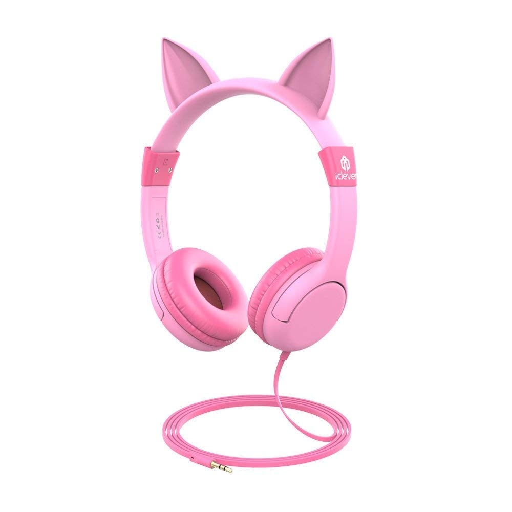 iClever BoostCare Kids Headphones, Wired Over Ear Headphones with Cat Ears, 85dB Volume Limited, Food Grade Silicone, 3.5mm Jack (HS01), Pink by iClever