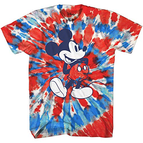 Mickey Mouse Classic Shmile Tie Dye Vintage Disneyland World Mens Adult Graphic Tee T-Shirt Apparel (Red Tie Dye, X-Large)