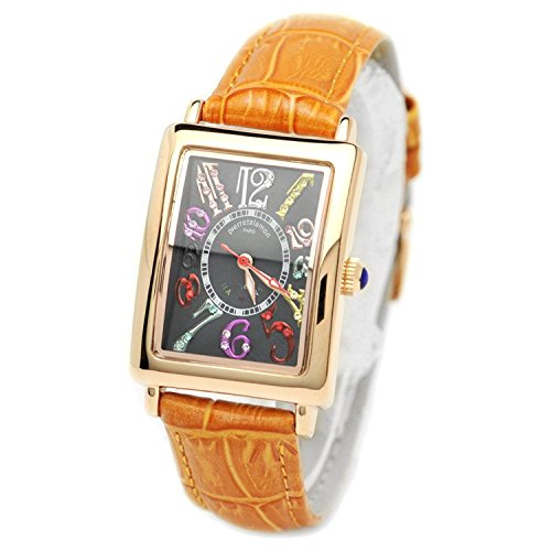 pierretalamon watch Women's Watches rectangular colorful index zirconia Watch Seiko move Black x Orange PT-9500L-4 Ladies
