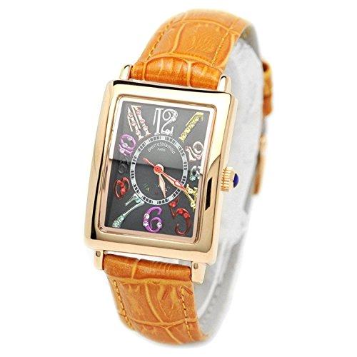pierretalamon watch Women's Watches rectangular colorful index zirconia Watch Seiko move Black x Orange PT-9500L-4 Ladies