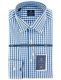 New Luigi Borrelli Blue Check Extra Slim Shirt