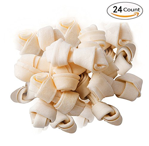 24 Count 2.5 Inch Rawhide Bones Dog Chews 100% Natural Ingredient Knotted Treats Healthy Digestible Pet Food PUPTECK