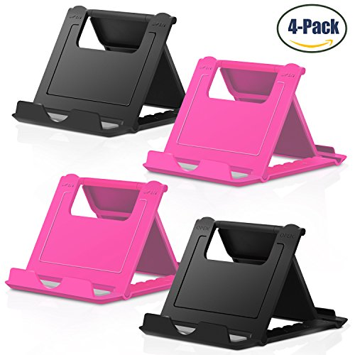 Price comparison product image Cell Phone Stand, 4 Pack Smartphone Foldable & Adjustable Multi-angle Pocket Desktop Holder Cradle for Tablets iPhone X/8/7 Plus/7/6s/6/5/4 SE iPad mini, Nintendo Switch Samsung Galaxy,Black+Rose Red