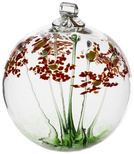 Kitras 6-Inch Blossom Ball Glass Ornament, Happy Birthday