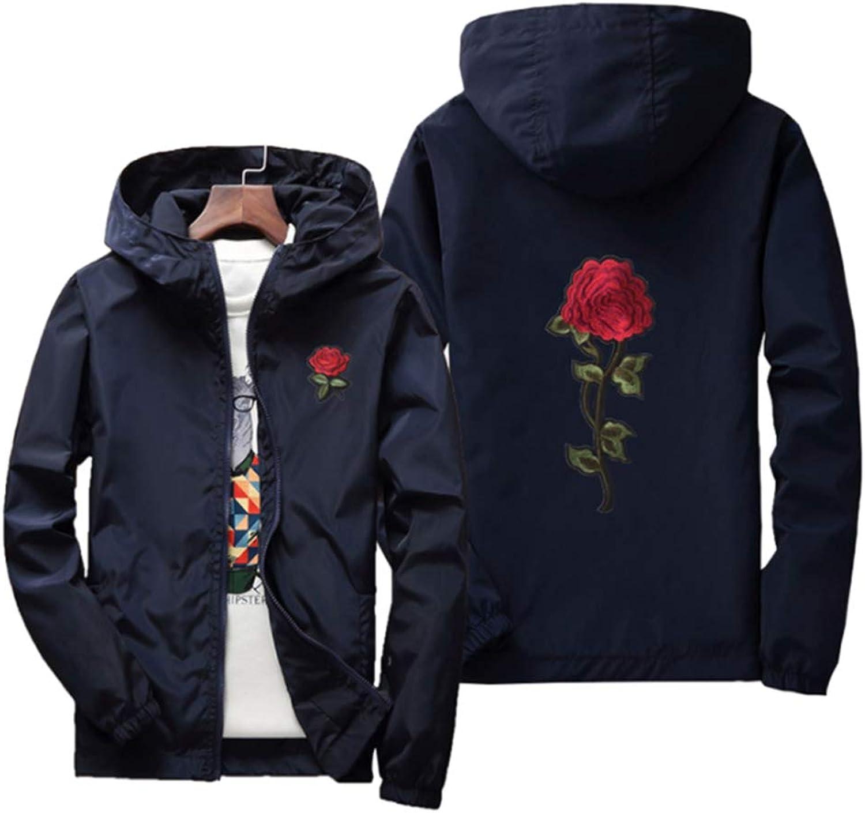 Jomuhoy Men Hoodie Sweatshirts Zip Front Contrast Color Coats