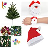 KRIWIN® Combo of 1 FT (12 INCHES) Christmas Tree (Table/Desktop) with 10 pcs Christmas Decorations(Assorted), 1 pc Santa Cap & 1 pc Santa Wrist Band for Kids