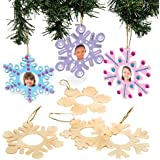 Baker Ross Winter Snowflake Wooden Photo Frame Xmas Hanging Decorations for Kids to Make and Paint - Creative Christmas Craft (Pack of 8)