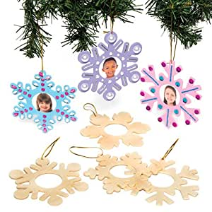 Winter Snowflake Wooden Photo Frame Xmas Hanging Decorations for Kids to Make and Paint - Creative Christmas Craft (Pack of 8)