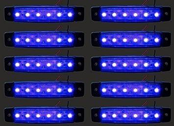 24/7Auto L0051 Luces Laterales para Camiones, Trailers, Caravanas LED 24 V, Azul, 10 Piezas: Amazon.es: Coche y moto