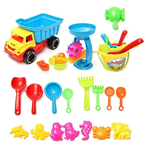 WALLER PAA Beach Sand Play Toys Set 21pcs/set Bucket Rakes Sand Wheel Watering Sand Toys by no!no!