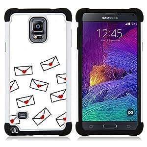 """Hypernova Híbrido Heavy Duty armadura cubierta silicona prueba golpes Funda caso resistente Para Samsung Galaxy Note 4 IV / SM-N910 [Carta de amor de San Valentín Minimalista Blanca""""]"""
