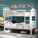 Harper&Bright Designs Bunk Bed Solid Wood Twin Over Twin Bunk Beds with Ladder (White-1)