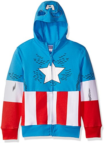 Marvel Big Boys' Captain America Costume Zip-up Hoodie, Blue, M-10/12