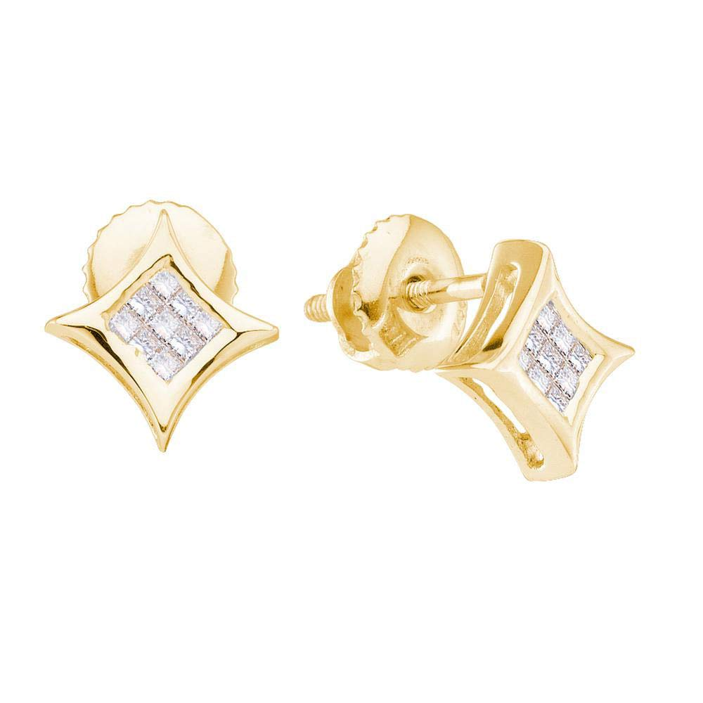 14kt Yellow gold Womens Princess Diamond Cluster Kite Square Earrings 1 6 Cttw