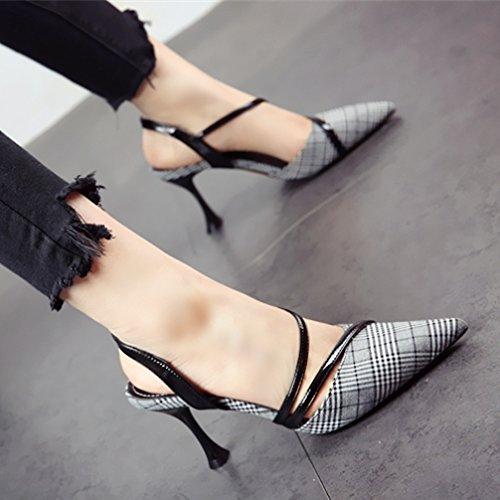 YMFIE En Primavera y Verano el Temperamento Sexy de la celosía es Muy pequeño con el Puntiagudo y Superficial Zapatos de tacón Lady'S cómodas Sandalias de tacón Alto,38 UE 37 EU