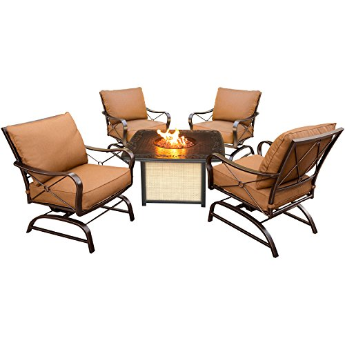 Hanover Outdoor Furniture SUMMRNGHTCAST Summer Nights 5 Piece Conversation Set with Cast-Top Fire Pit Table
