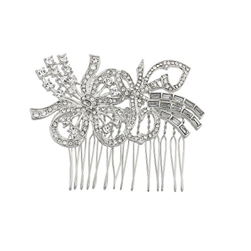 Lux Accessories Silvertone Pave Crystal Ribbon Flower Bride bridal Hair comb