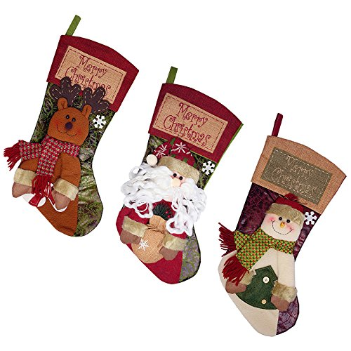 3-Pack 20 Inch Christmas Stockings with 3D Plush for Christmas Decorations - Santa, Snow Man, Reindeer ()