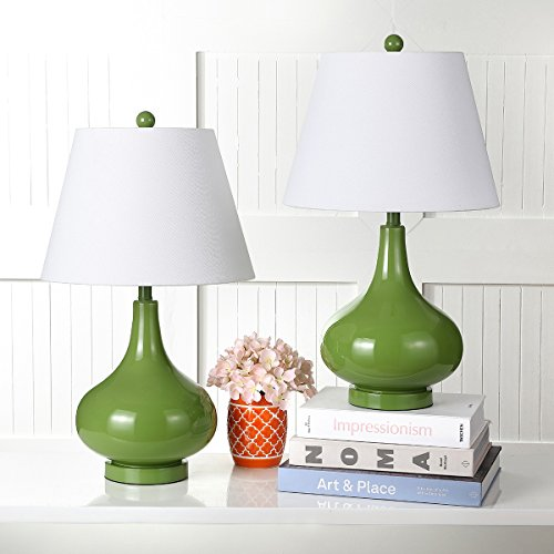 Safavieh Lighting Collection Amy Fern Green Gourd 24-inch Table Lamp (Set of ()