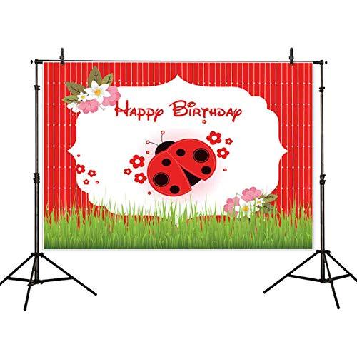 (Allenjoy 7x5ft Ladybug Happy Birthday Backdrop Ladybird Baby Shower Photography Backdrop Red Flower Green Meadow Miraculous Princess Photo Background Studio Prop)