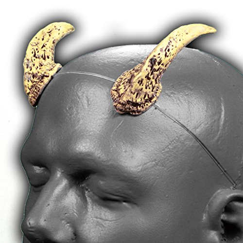 Satyr v2 Bone & Black Devil Horns w/ adjustable, self locking invisible headband