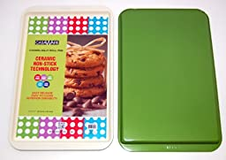 casaWare Ceramic Coated NonStick Cookie/Jelly Roll Pan (11 X 17-Inch, Cream/Green)