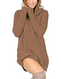 Women's Casual Turtleneck Long Sleeve Slim Fit Knit Pullover Mini Sweater Dress